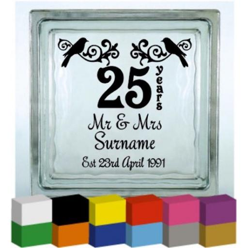 (Personalised) Mr & Mrs Wedding Anniversary Vinyl Glass Block / Photo Frame Decal / Sticker/ Graphic