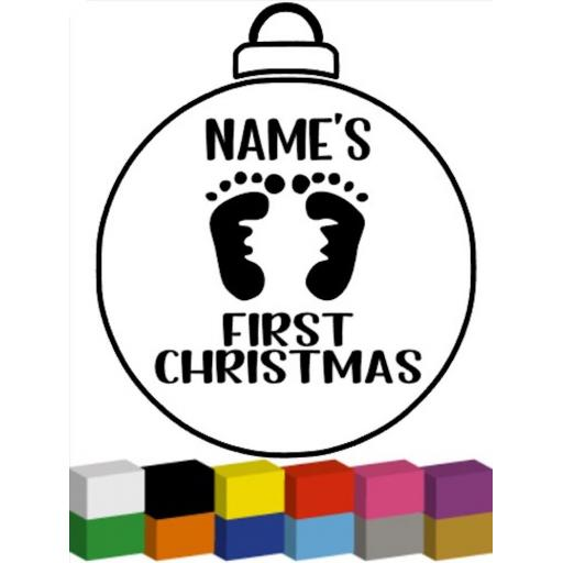 Personalised First Christmas Bauble with feet Decal / Sticker/ Graphic