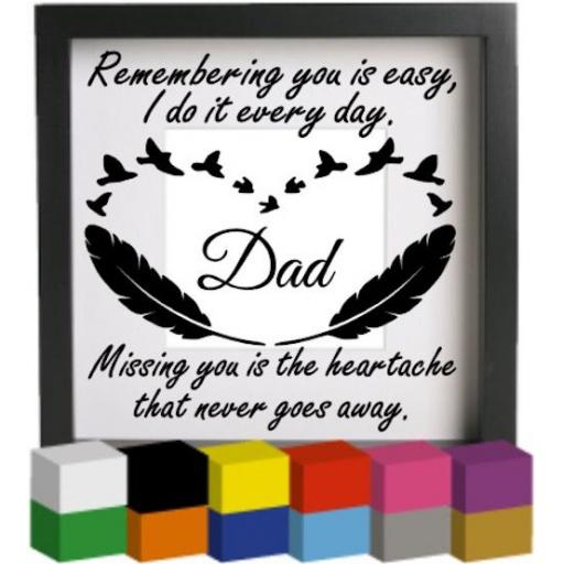 Remembering you is easy (Personalised) Vinyl Glass Block / Photo Frame Decal / Sticker / Graphic