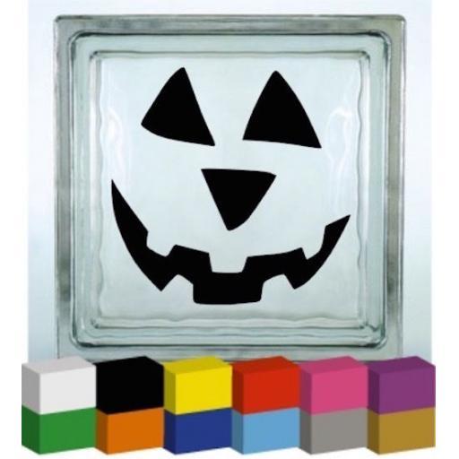 Pumpkin Face Halloween Vinyl Glass Block Decal / Sticker / Graphic