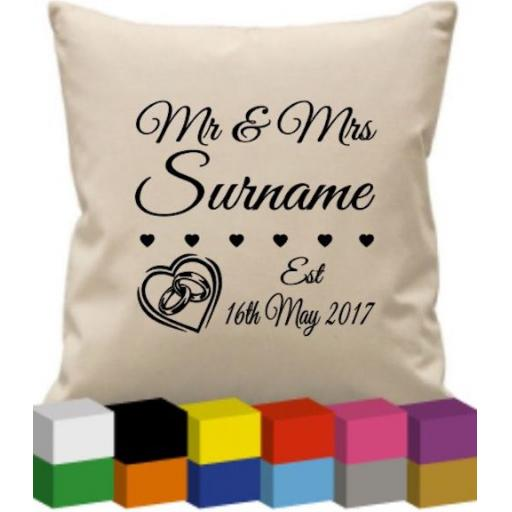 Cushion Cover with Wedding Details (personalised)