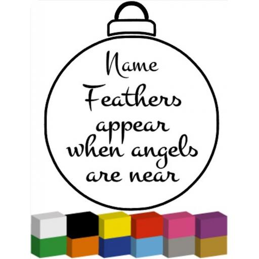 Personalised Feathers Appear for Bauble Decal / Sticker/ Graphic
