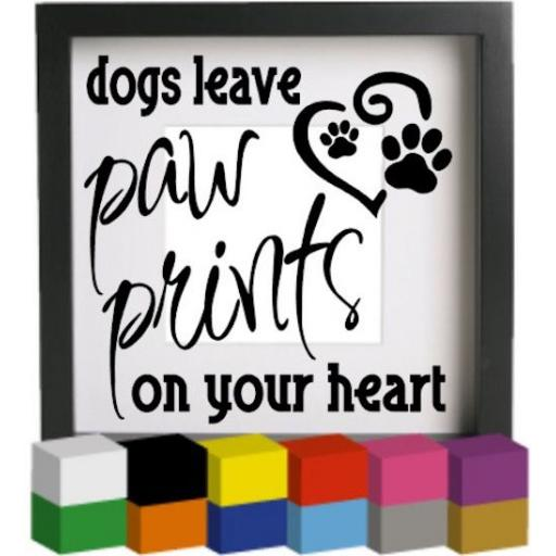 Dogs leave Paw Prints V2 Vinyl Glass Block Decal / Sticker/ Graphic