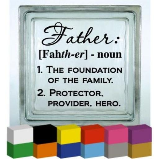 Father Vinyl Glass Block / Photo Frame Decal / Sticker/ Graphic