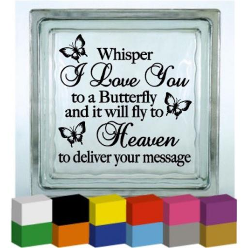 Whisper I Love You Vinyl Glass Block / Photo Frame Decal / Sticker/ Graphic