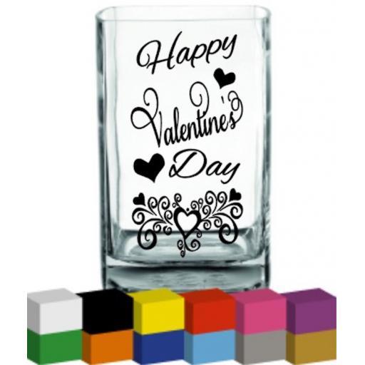 Happy Valentine's Day Vase Decal / Sticker / Graphic