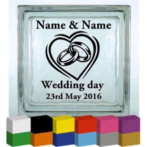 Wedding Rings Vinyl Glass Block / Photo Frame Decal / Sticker/ Graphic