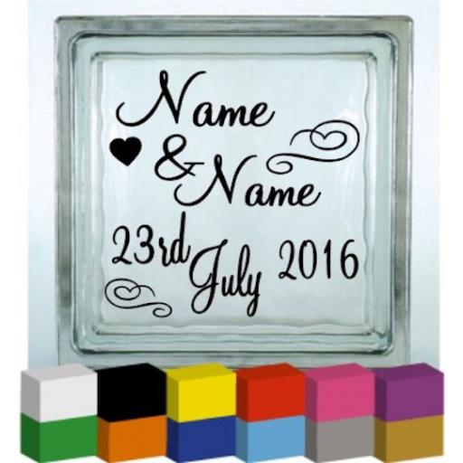 (Personalised) Name Date Wedding Vinyl Glass Block / Photo Frame Decal / Sticker/ Graphic