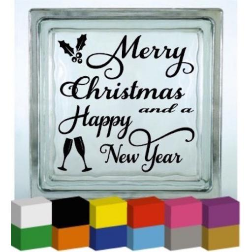 Merry Christmas and a Happy New Year Vinyl Glass Block Decal / Sticker