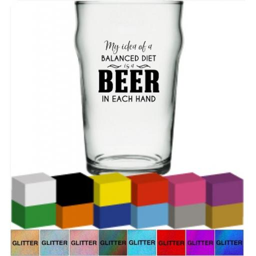 My idea of a balanced diet is a beer in each hand Glass / Mug Decal / Sticker / Graphic