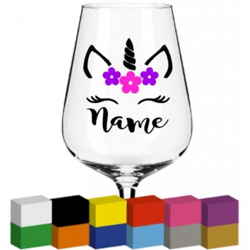 Unicorn Head Personalised Glass / Mug / Cup Decal / Sticker / Graphic