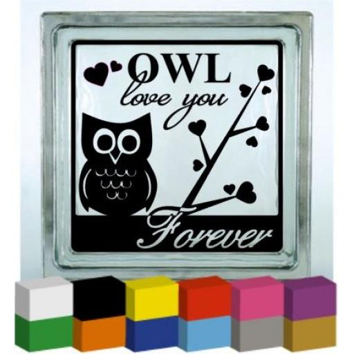 Owl Love You Vinyl Glass Block / Photo Frame Decal / Sticker / Graphic