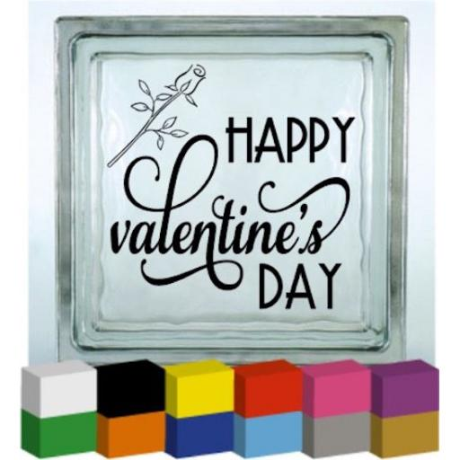 Happy Valentines Day Rose Vinyl Glass Block / Photo Frame Decal / Sticker / Graphic