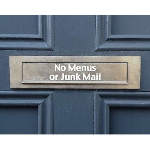 No Menus or Junk Mail Letterbox Decal / Sticker / Graphic