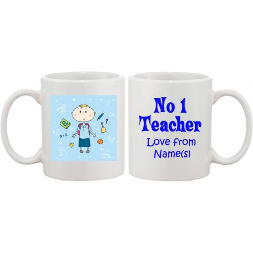 No 1 Teacher Blue Personalised Mug