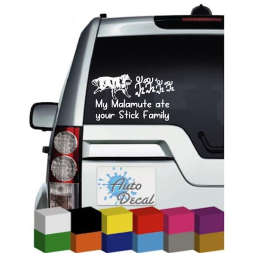 My Malamute ate your Stick Family Vinyl Car Sticker / Decal / Graphic
