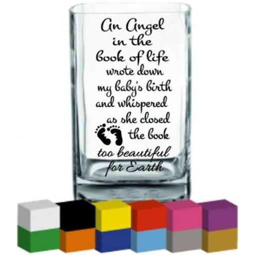 An angel in the book of life Vase Decal / Sticker / Graphic