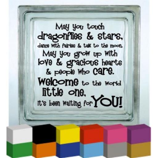 May you touch dragonflies & stars Vinyl Glass Block / Photo Frame Decal / Sticker / Graphic