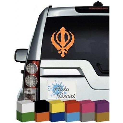 Sikh Khanda Vinyl Car, Van, 4x4 Window Sticker / Decal / Graphic