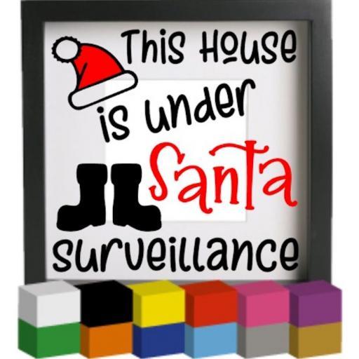 This house is under Santa Surveillance Vinyl Glass Block Decal / Sticker / Graphic