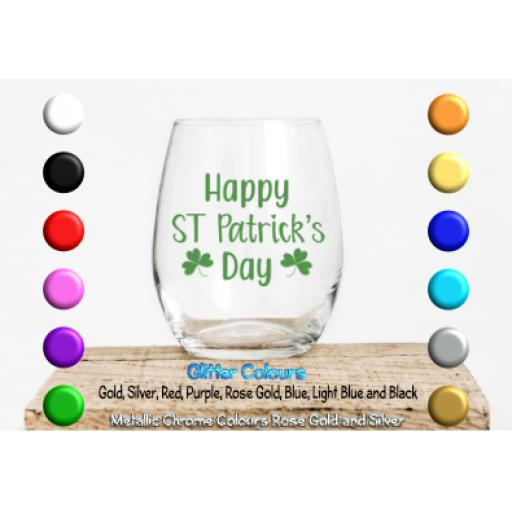 Happy St Patricks Day Glass / Mug Decal / Sticker / Graphic
