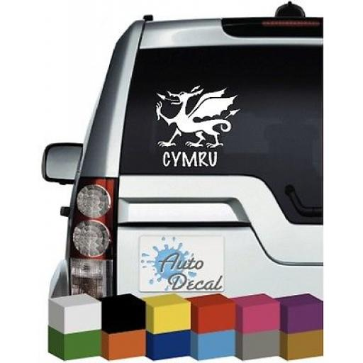 Cymru Welsh Dragon (Wales) Vinyl Car Window, Bumper Decal / Sticker / Graphic