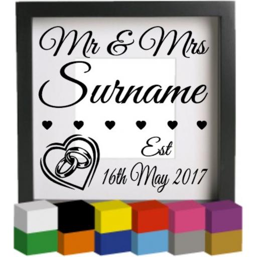 Personalised Mr & Mrs Surname V2 Vinyl Glass Block / Photo Frame Decal / Sticker/ Graphic