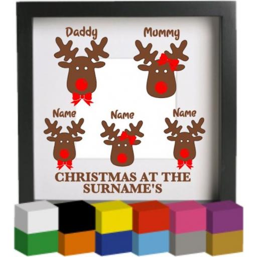 Christmas at the Reindeer Personalised Vinyl Glass Block Decal / Sticker / Graphic