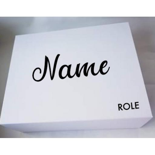 Name and Role Personalised V2 Wedding Box Decal / Sticker / Graphic