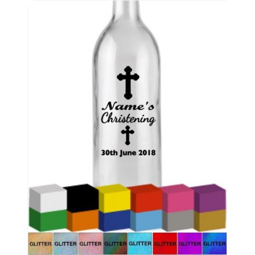 Christening Personalised Bottle Vinyl Decal / Sticker / Graphic