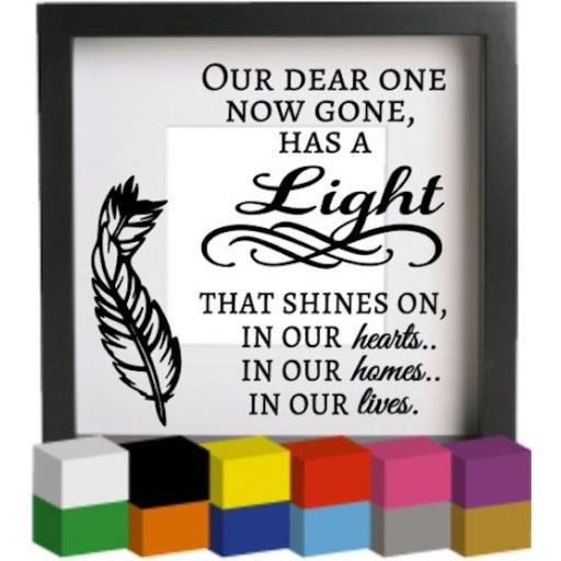 Our Dear One Now Gone Vinyl Glass Block / Photo Frame Decal / Sticker / Graphic