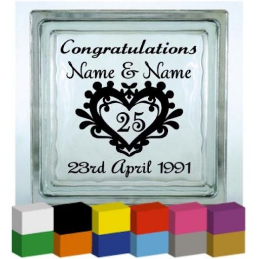 (Personalised) Congratulations Wedding Anniversary Vinyl Glass Block / Photo Frame Decal / Sticker/ Graphic