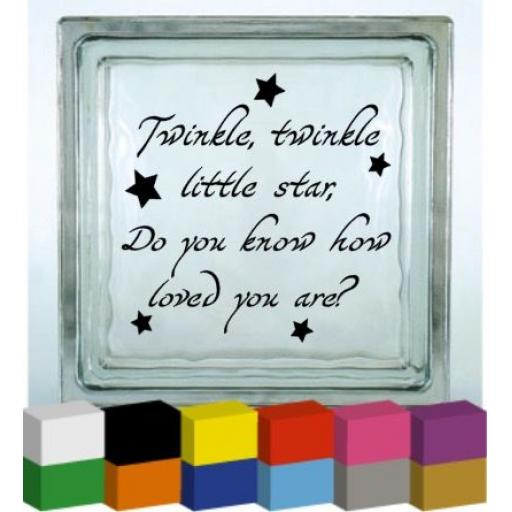 Twinkle Twinkle V2 Vinyl Glass Block Decal / Sticker / Graphic