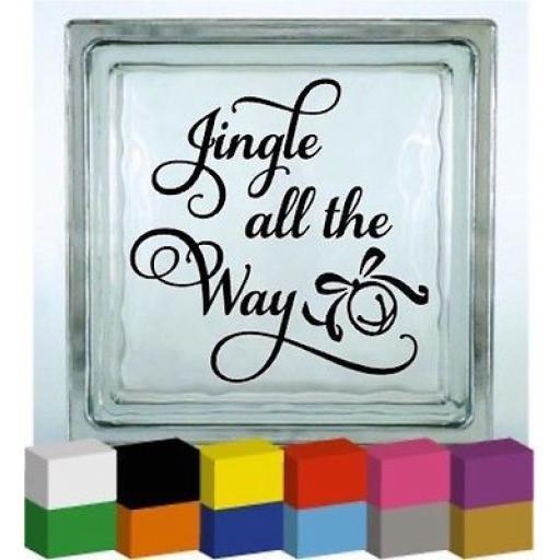 Jingle all the Way Christmas Vinyl Glass Block Decal / Sticker