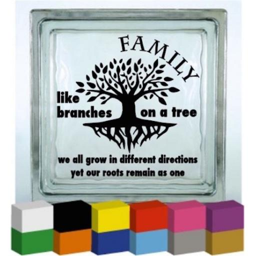 Family like branches on a tree Vinyl Glass Block / Photo Frame Decal / Sticker / Graphic