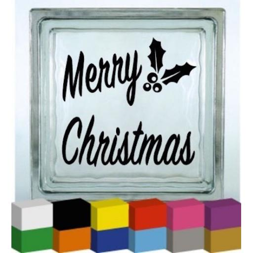 Merry Christmas Vinyl Glass Block Decal / Sticker / Graphic