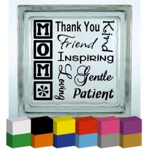 Mom Wording Vinyl Glass Block / Photo Frame Decal / Sticker / Graphic