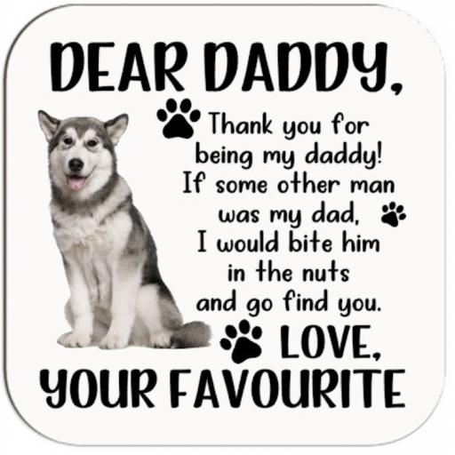 Dear Daddy (Personalised with Breed) Coaster