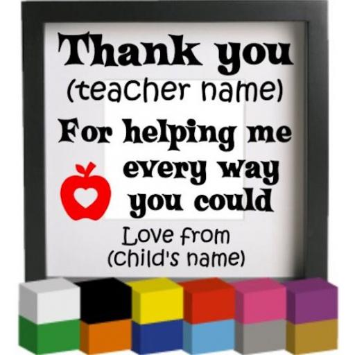 Thank You Personalised Vinyl Glass Block / Photo Frame Decal / Sticker / Graphic
