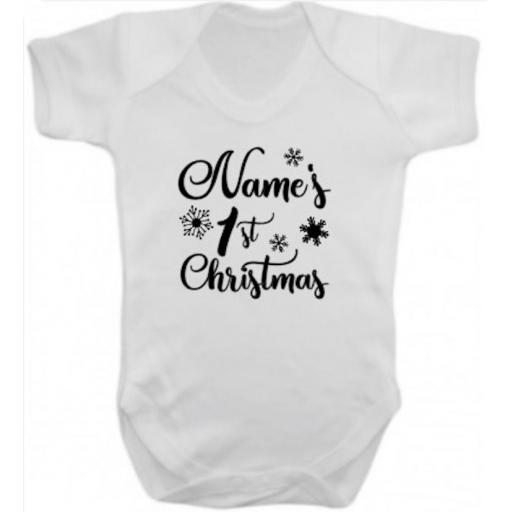 Name's 1st Christmas Short Sleeved Body Suit