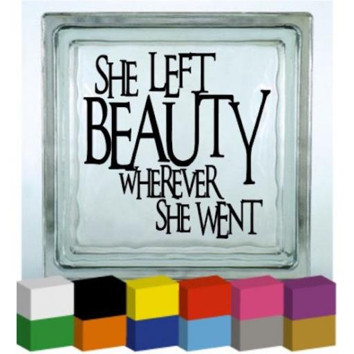 She left Beauty Vinyl Glass Block / Photo Frame Decal / Sticker / Graphic