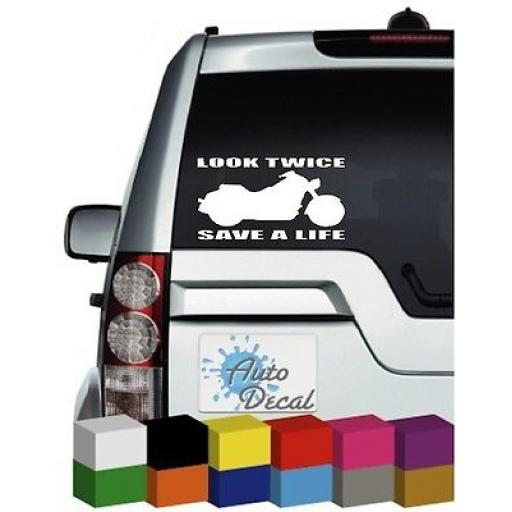 Look Twice Save A Life Vinyl Car, Van Window, Bumper Sticker / Graphic