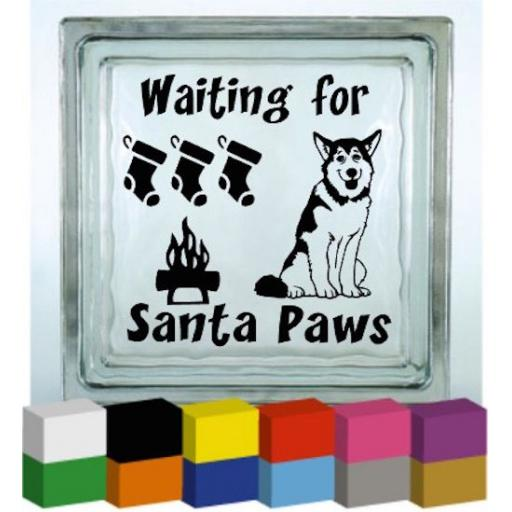 Waiting for Santa Paws Vinyl Glass Block Decal / Sticker/ Graphic