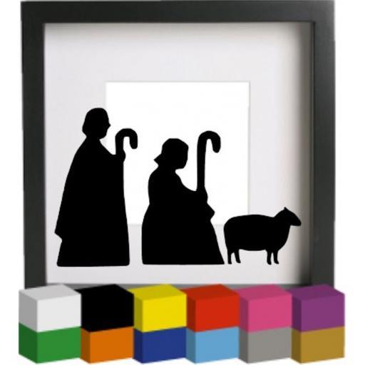 Nativity Shepherds Vinyl Glass Block / Photo Frame Decal / Sticker / Graphic