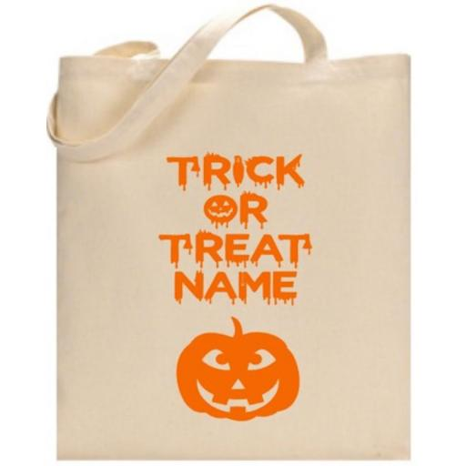 Trick or Treat Pumpkin Bag Personalised