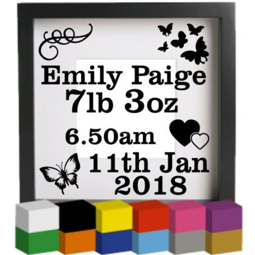Personalised Baby Birth with Butterflies Vinyl Glass Block Decal / Sticker / Graphic