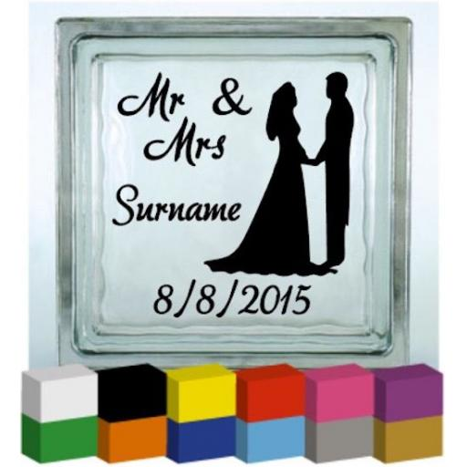 (Personalised) Wedding Day Mr & Mrs Vinyl Glass Block / Photo Frame Decal / Sticker/ Graphic
