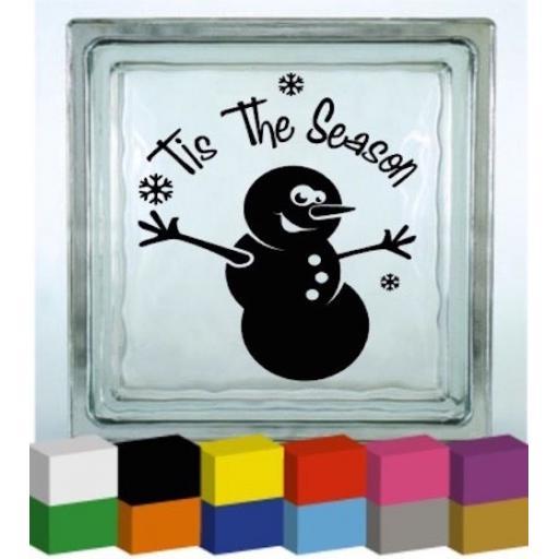 Tis The Season Vinyl Glass Block / Photo Frame Decal / Sticker / Graphic