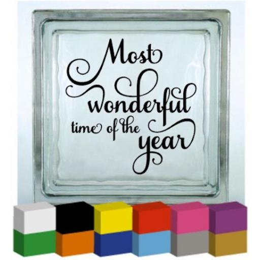 Most wonderful time of the year Vinyl Glass Block Decal / Sticker