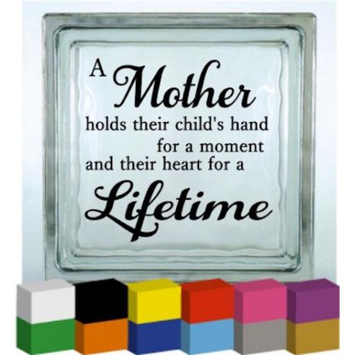 A mother holds their child's hand Vinyl Glass Block / Photo Frame Decal / Sticker / Graphic